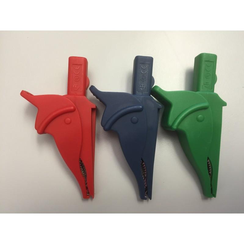Krokodilklemmen rot / blau / grün (3x)