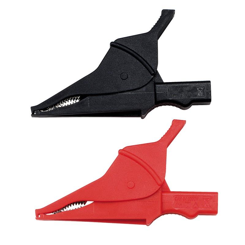2 Krokodilklemmen CAT IV 1 k V  rot / schwarz